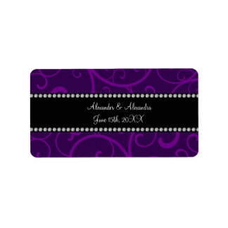 Wedding favors purple swirls address label