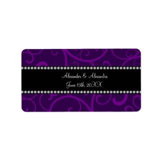 Wedding favors purple swirls address label