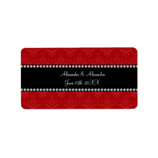 Wedding favors red damask address label