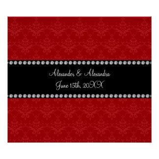 Wedding favors red damask poster