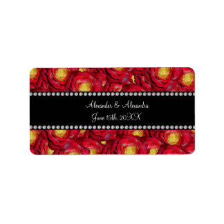Wedding favors Red roses Address Label