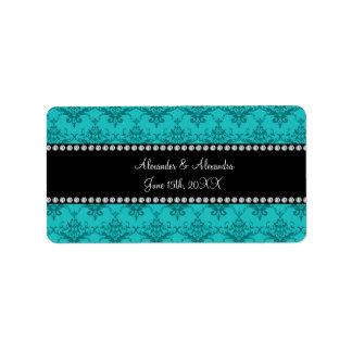 Wedding favors Turquoise damask Address Label