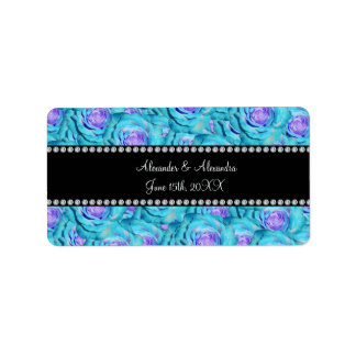 Wedding favors Turquoise roses Address Label