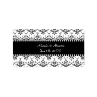 Wedding favors White damask Address Label