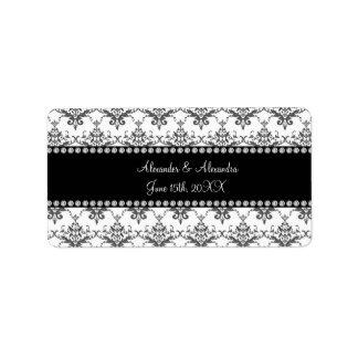 Wedding favors White damask Address Label