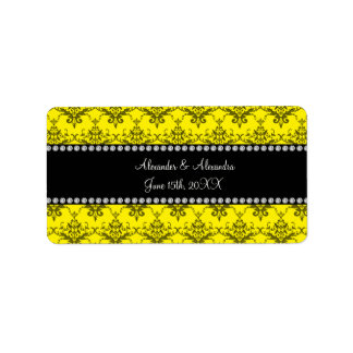 Wedding favors Yellow damask Address Label