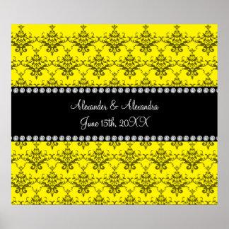 Wedding favors Yellow damask Poster