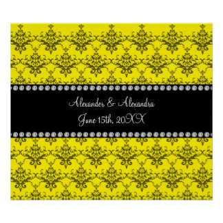Wedding favors Yellow damask Print