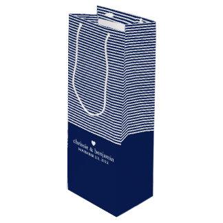 Wedding Favour Custom Bride Groom Date Stripe Wine Gift Bag