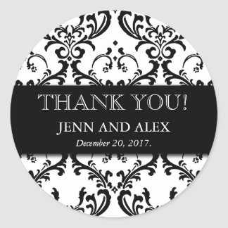 Wedding Favour Damask Thank You Stickers Black