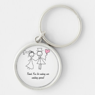 Wedding Favour Gift Silver-Colored Round Key Ring