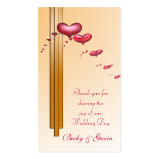 Wedding Favour Gift Tag Art Deco Red Hearts Business Card