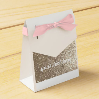 Wedding Favour Gold & Pink Customisable Gift Bag Favour Box