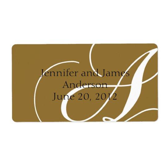 Wedding Favour Labels Gold Monogram A