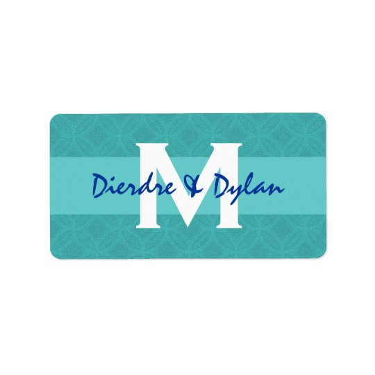 Wedding Favour Lable Aqua Monogram Label