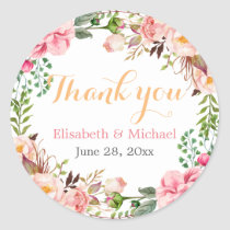 Wedding Favour Romantic Floral Decor Thank You Round Sticker