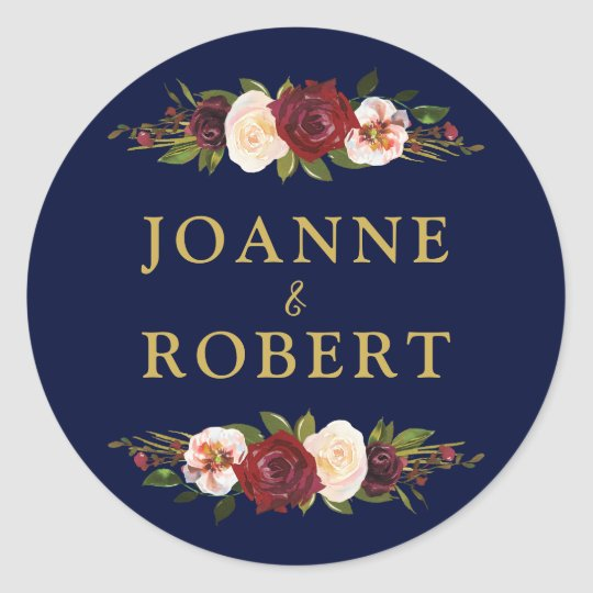 Wedding Favour Rustic Floral Burgundy Navy Gold Classic Round Sticker