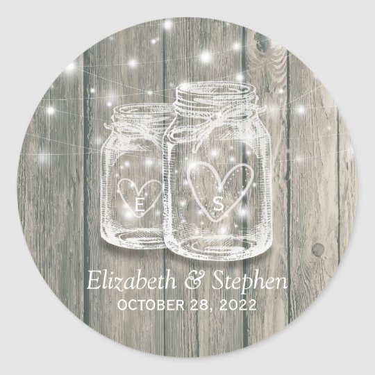 Wedding Favour Rustic Wood Mason Jars String Classic Round Sticker