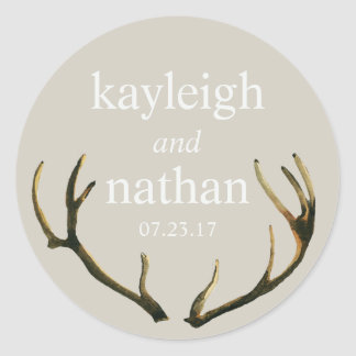 Wedding Favour Stickers Rustic Antlers Custom