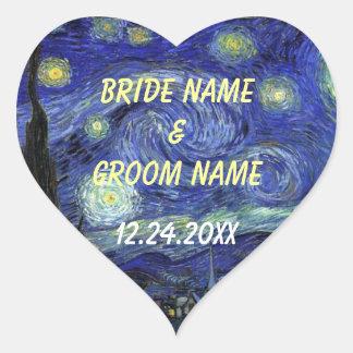 Wedding favour stickers.  Starry Night Heart Sticker