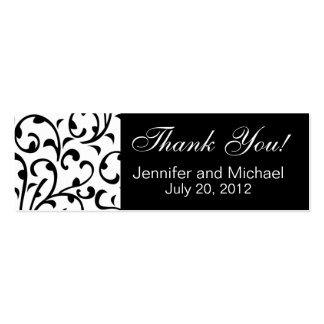Wedding Favour Tag Black White Damask Pack Of Skinny Business Cards