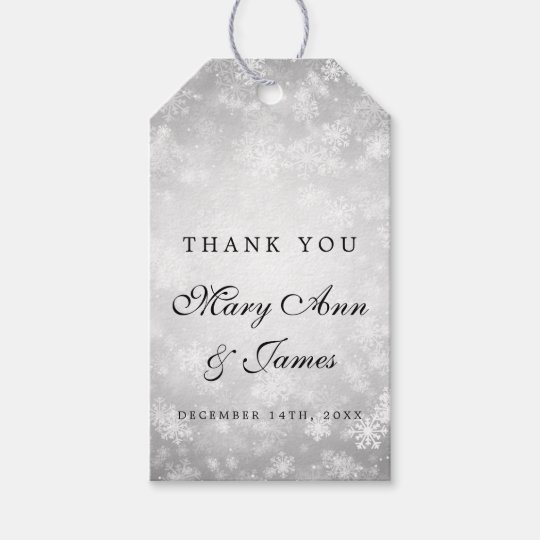 Wedding Favour Tag Silver Winter Wonderland