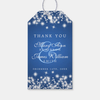 Wedding Favour Tag Winter Sparkle Blue