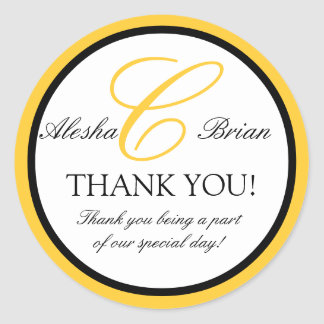 Wedding Favour Thank You Stickers Monogram C