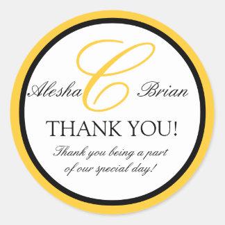 Wedding Favour Thank You Stickers Monogram C