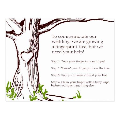 Wedding Fingerprint Tree Instruction Card Postcards