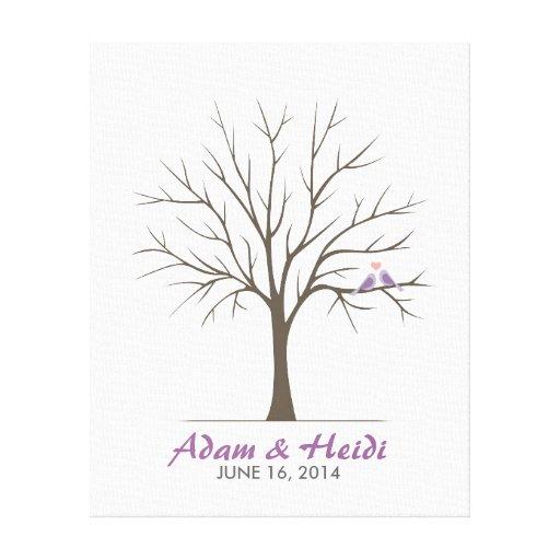 Wedding Fingerprint Tree – Love Birds - Purple Canvas Prints