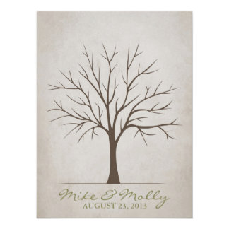 Wedding Fingerprint Tree – Rustic Poster