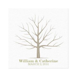 Wedding Fingerprint Tree - Square Canvas Canvas Prints