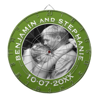 Wedding First Christmas Photo Custom Name and Year Dart Board