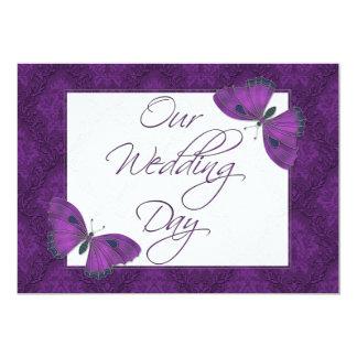 "Wedding Flat Invitation Butterfly Brocade Purple 5"" X 7"" Invitation Card"