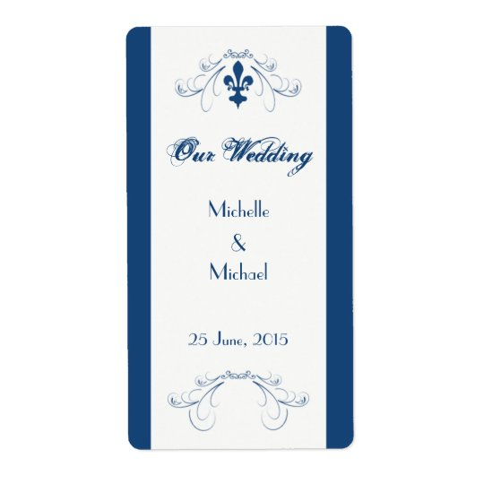 Wedding Fleur de Lis Wine Labels (Dark Blue)