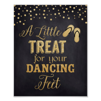 Wedding Flip Flop Sign, Dancing Feet in Gold Poster