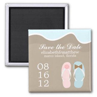 Wedding Flip Flops Square Magnet