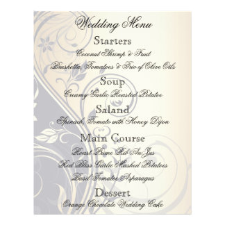 Wedding Floral Black Gold Menu Flyer