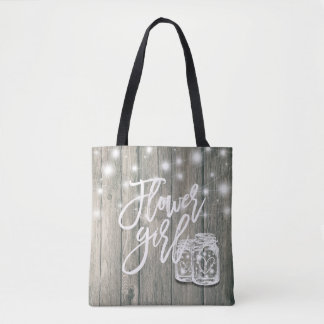 Wedding Flower Girl Wood Mason Jar String Lights Tote Bag