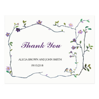 Wedding flower watercolor thank you postcard