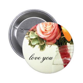 wedding flowers pink orange rose customize 6 cm round badge