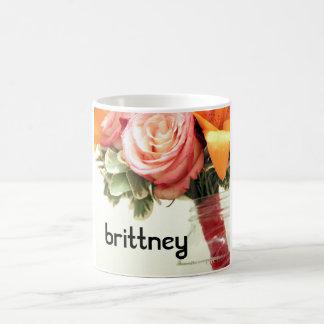 wedding flowers pink orange rose customize coffee mug