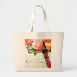 wedding flowers pink orange rose customize large tote bag