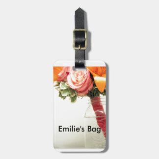 wedding flowers pink orange rose customize luggage tag