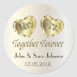 Wedding for the Bride and Groom | Personalize Round Sticker