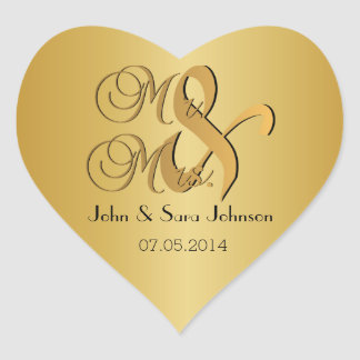 Wedding for the Mr & Mrs   Personalize Heart Sticker