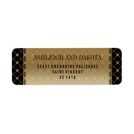 Wedding   Formal Gold Pattern on Black Return Address Label