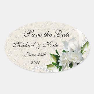 Wedding Gardenias Oval Sticker