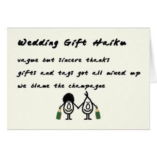 Wedding Gift Haiku - a funny thank you poem Card